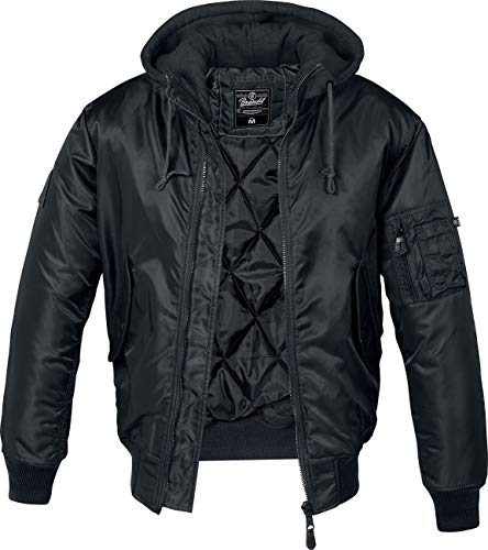 Brandit MA1 Sweathood Bomberjacke, schwarz mit schwarzer Kapuze, Größe XL
