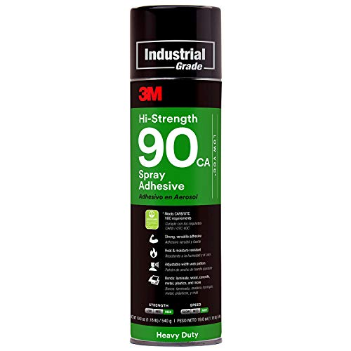 3M Hi-Strength 90 CA Spray Adhesive, Low VOC, Permanent, Bonds Laminate, Wood, Concrete, Metal, Plastic, Clear Glue, Net Wt 19 oz