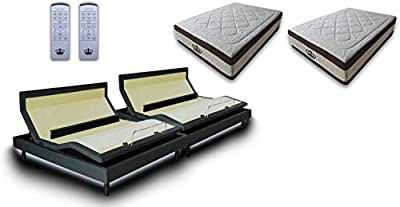 DynastyMattress Split King Adjustable Bed Frame with Custom Head Tilt, Massage, Zero-Gravity, Bluetooth & USB Ports + Memory Foam Mattress Set