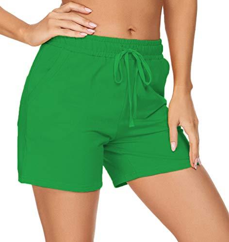 "Tandisk Women's 5"" Lightweight Jersey Cotton Yoga Pocketed Lounge Walking Shorts Pajama Activewear Beach Shorts Green M"