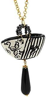 Ciondolo donna Coffa moderno bianco e nero.Collana donna.Gioielli in ceramica dipinta a mano. Made in Italy.