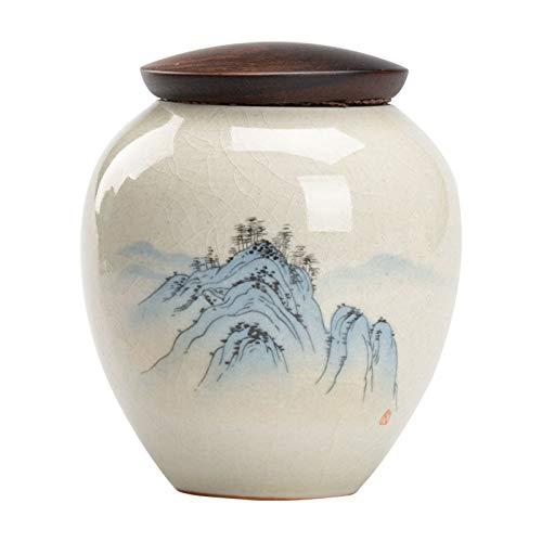NHP Japanische antike Teedosen, alte Seladon-Glasur-Teedosen mit Pflanzenasche, japanische Holzdeckel-Teedosen