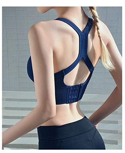 Sport BH Sportlicher Sport-BH Sexy Yoga Solid Tank Crop Top Für Frauen Fitness Push-Up-Fitnessstudio Laufen Stoßfestes Training Fast Dry Vest-Blue_S