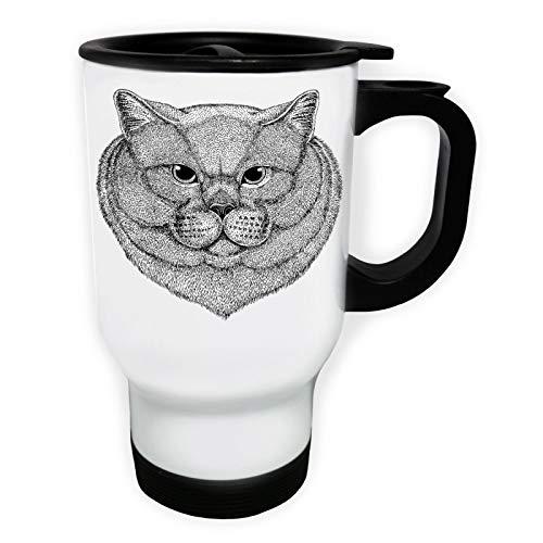 Domestic Cat Hand Drawn In Black Tasse de voyage thermique blanche 14oz 400ml ff931tw