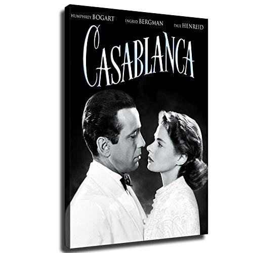 Póster de la película Casablanca y decoración de pared para dormitorio familiar, Enmarcado, 22x30inch