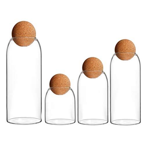 BESTonZON Tarro de almacenamiento transparente de cristal con tapón de corcho, caja...