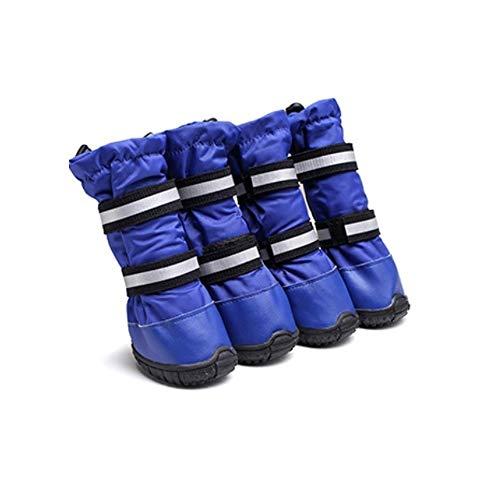 JINSUO FDCW Perro Zapatos, Botas de Perro, Impermeable Suela de Goma Antideslizante, Perro Grande y Mediano y Protector Garra de Perro (Color : Azul, Talla : 60)