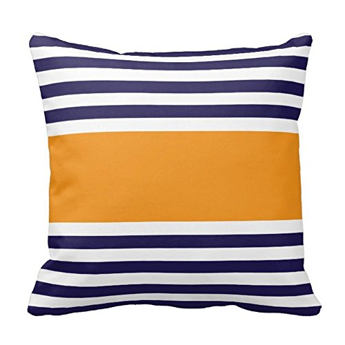 Navy Blue and White with Orange Stripe Design Sofa Home Decor Pillow Case Covers