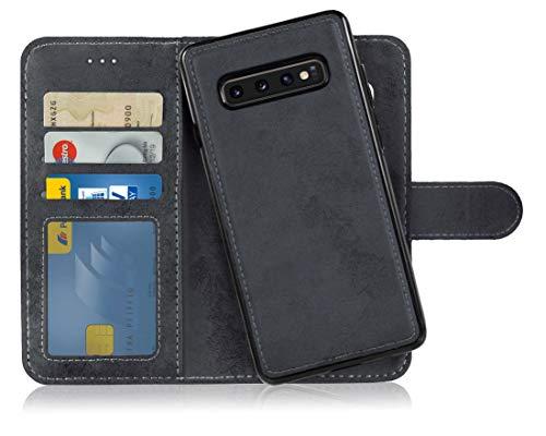 MyGadget Flip Case Handyhülle für Samsung Galaxy S10 Plus - Magnetische Hülle aus Kunstleder Klapphülle - Kartenfach Schutzhülle Wallet - Schwarz