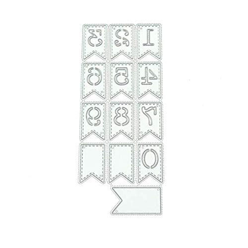 TankMR Cijferbanner van metaal met patroon versnippering, sjabloon voor scrapbooking, knutselen en papier Art Craft Decoration Zilver.