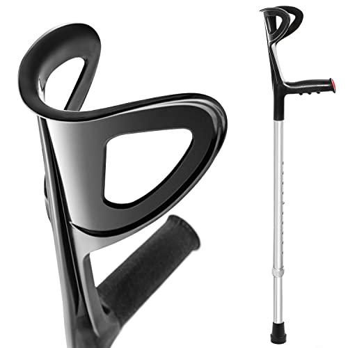 AIESI® Muleta para adulto regulables ortopédica antebrazo color negro en aluminio anodizado...