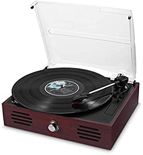 Record Player Belt-Drive 3 Speed Retro Portable Wooden Suitcase Turntable 33 1/3 45 78 RPM LP Vinyl with Stereo Speakers