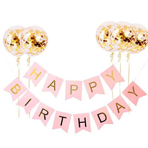 FSJD Cartel de Feliz cumpleaños con Globos, Guirnalda de banderines Colgantes para niños y niñas, Suministros de decoración para Fiestas, Dorado, Juego de Feliz cumpleaños