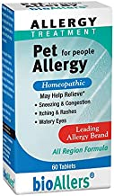 bioAllers Pet Allergy Relief for People   Homeopathic Formula Temporarily Relieves Sneezing, Itching, Watery Eyes Due to Hair & Dander   60 Tablets