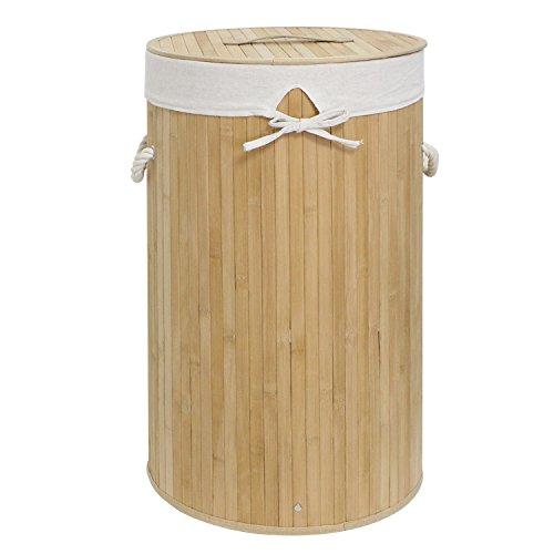 Wäschekorb Bambus Faltbar Wäschebox mit Griffen Wäschesammler herausnehmbar Wäschesack Naturfarben Rund Ø35x60 cm