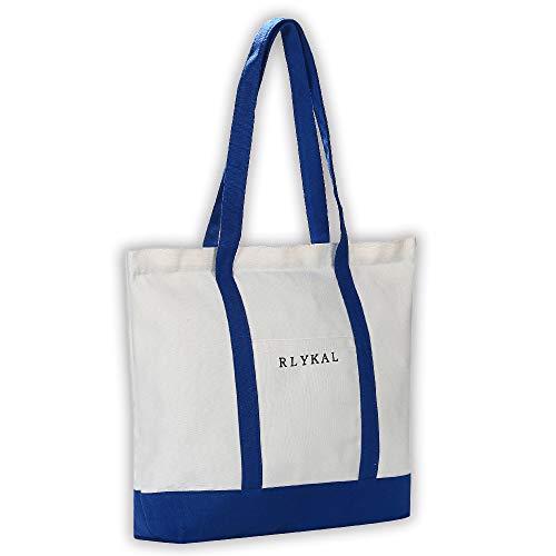 RLYKAL エコバッグ トートバッグ 買い物バッグ 買い物袋 キャンバストート 人気 大容量 レディース 無地 帆布 メンズ 軽量 おしゃれ かわいい ファスナー付き (トートバッグ, ブルー)