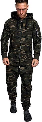 Eghunooye Männer Jumpsuit Overall Lang Anzug Hoodie Onesie Joggingsanzug mit Reißverschluss Winter Trainingsanzug M-3XL (Armee grüne Tarnung, L)