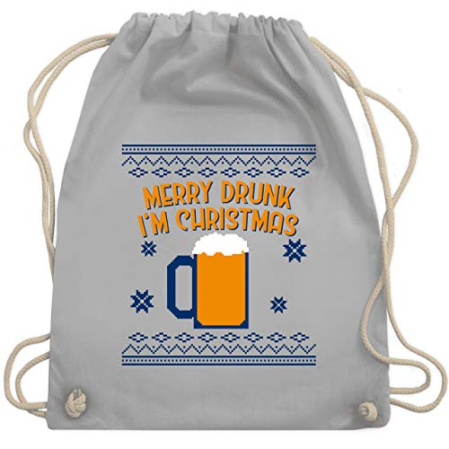 Weihnachten & Silvester - Ugly Christmas Merry Drunk I'm Christmas - Unisize - Hellgrau - Geschenk - WM110 - Turnbeutel und Stoffbeutel aus Baumwolle