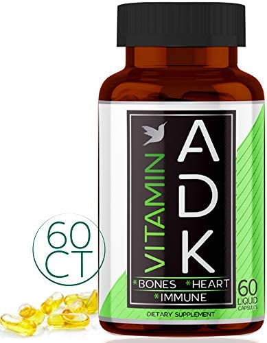 ADK Vitamin Supplement A D3 K2 in MCT Oil from Coconut Easy Calcium Absorption Capsules Vegetarian product image