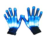 LED Light Up Gloves, Lychee 6 Adjust Modes Lights Toys Rave Gloves Party/Halloween/Christmas/Birthday Gift (Blue)