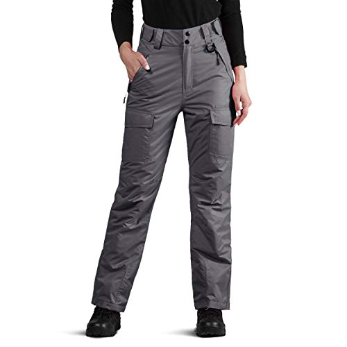 FREE SOLDIER Women's Outdoor Waterproof Windproof Breathable Snow Ski Pants Winter Insulated Snowboarding Skiing Pants (Gray Small/US 4-6)