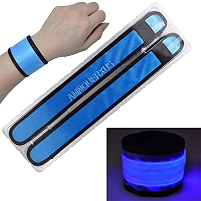LED Slap Bracelets Light Up Armbands Glow in The Dark Fashing Wristbands Wrist Bands Safety Reflective Running Gear Lights for Runners Walkers Walking Joggers Jogging, Fits Men Women Kids (2-Blue)