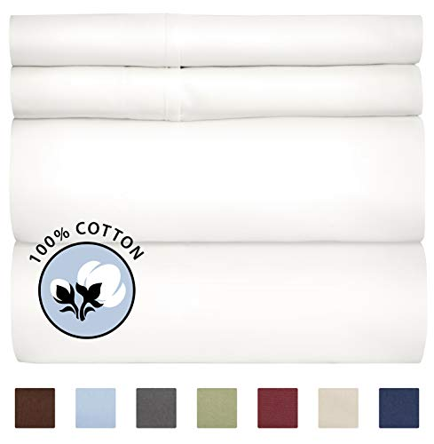 100% Cotton Queen Sheets White (4pc) Silky Smooth, Cooling 400 Thread Count Long Staple Combed Cotton Queen Sheet Set – Pure 400TC High Thread Count Queen Sheets - Queen Bed Sheets Cotton All Cotton