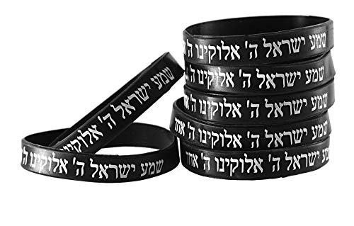 7 Bracelets NOIR CHEMA ISRAËL – Kabbale juive hébraïque bandes caoutchouc