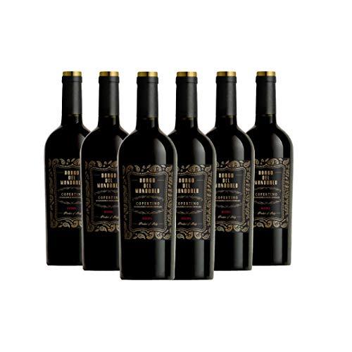 BORGO DEL MANDORLO Copertino DOC Riserva, Rotwein, Passt sehr gut zu Hartkäse, Schweinebraten, Rindersteak, Wild, 6 x 750 ml, Made in Italy, 11% Vol