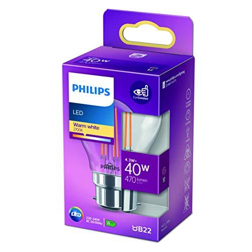 Philips ampoule LED Sphérique B22 40W Blanc Chaud Claire, Verre