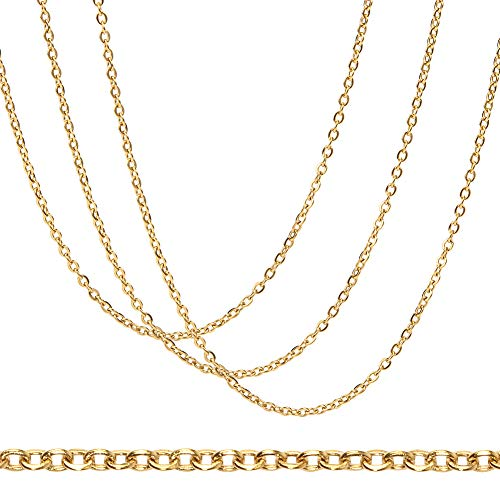 BENECREAT 20 Strands 18 Inches 304 Stainless Steel Link Cable Chains 2mm Gold Necklace Chains with Spring Clasps and Clear Plastic Box for Jewelry Making