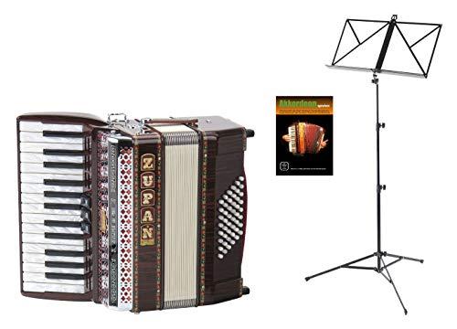 Zupan Alpe II 48 Akkordeon Set (Einsteiger Akkordeon mit 48 Bässen, inkl. Gurt, Koffer, Poliertuch, Notenständer & Akkordeonschule) Palisander