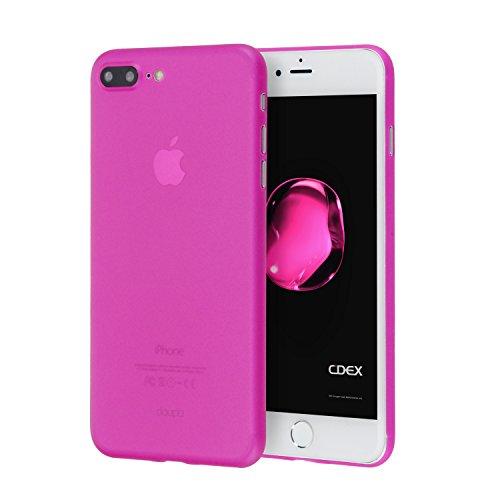 doupi UltraSlim Custodia per iPhone 8 Plus / 7 Plus (5,5 Pollici) Pollici, Satinato fine Piuma Facile Mat Semi Trasparente Cover, Pink