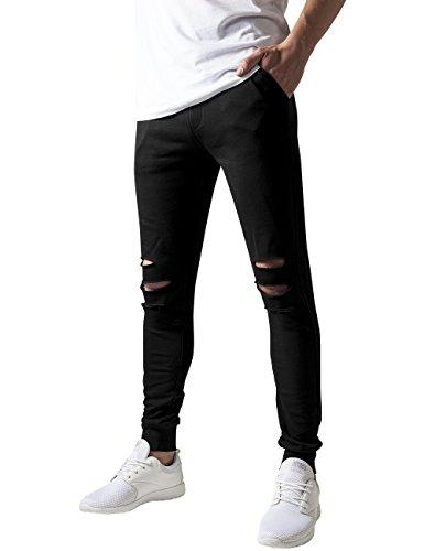 Urban Classics Cutted Terry Pants Pantaln, Negro (Black 7), XL para Hombre