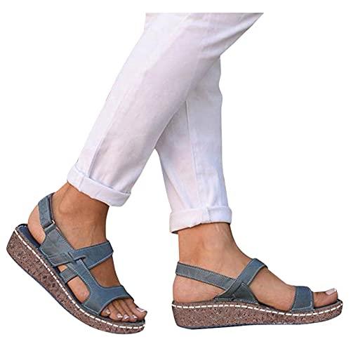 Aniywn Women s Open Toe Ankle Buckle Straps Wedge Sandals Summer Comfortable Slip On Flat Platform Wedge Sandals Blue