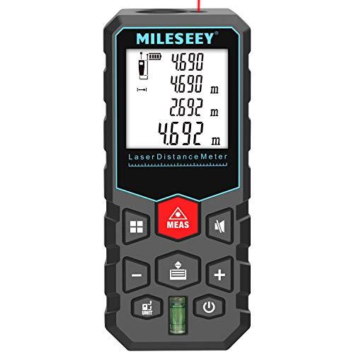Telémetro láser, Mileseey Medidor Laser de Distancia con rango distancia de medida 0,05~40m /±1,5mm, pantalla retroiluminada LCD con burbujas de nivel Medidor Láser con función silencio