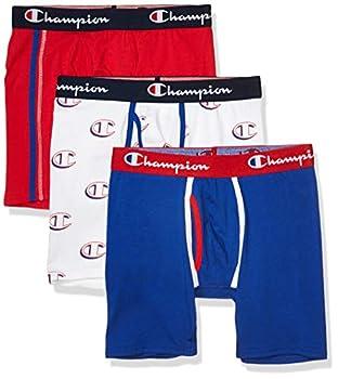 Champion Men s Everyday Cotton Stretch Boxer Briefs 3-Pack Scarlet/Surf The Web/White Hollow C Logo Medium