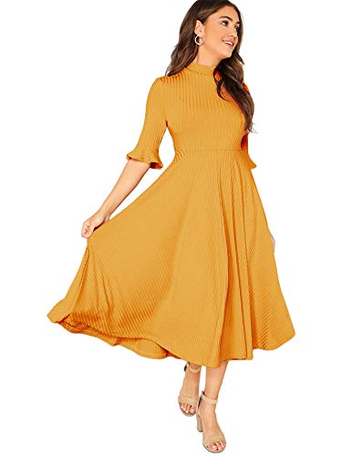Verdusa Women's Elegant Ribbed Knit Bell Sleeve Fit and Flare Midi Dress Ginger L