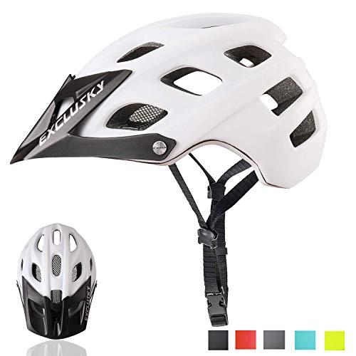 Exclusky Casco de Bicicleta de montaña, Casco Adulto IN-Mold 21 Agujeros con Visera extraíble Ajustable y Ligero para la protección de Seguridad del Ciclo,56/61cm (Negro+Blanco)