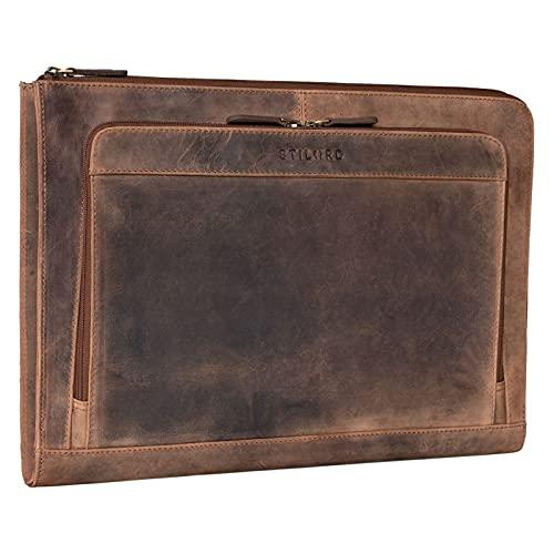 STILORD 'Murray' Laptophülle für MacBook 16 Zoll MacBooktasche Leder 15.6 Zoll Notebooktasche Sleeve Laptoptasche perfekt als Aktentasche Dokumentenmappe, Farbe:Calais - braun