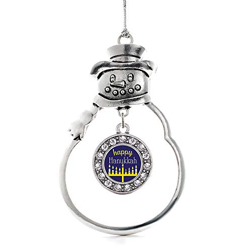 Inspired Silver - Happy Hanukkah Charm Ornament - Silver Circle Charm Snowman Ornament with Cubic Zirconia Jewelry