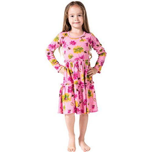 Mignone Little Girls' Long Sleeve Dress (5, Pink)