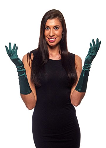 Elegant Elbow Length 15' Satin Gloves, Forest Green