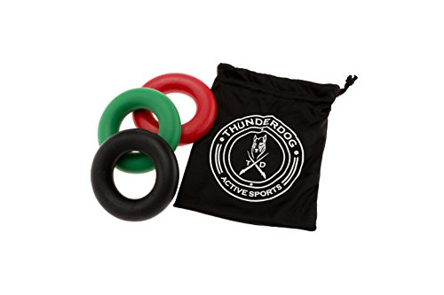 Thunderdog Handtrainer - Set 3 Ringe für Große Hände Unterarmtrainer, Fingertrainer 3 Schwierigkeitsstufen Trainingsstufen mit Beutel Anti Stress Ringe 88mm