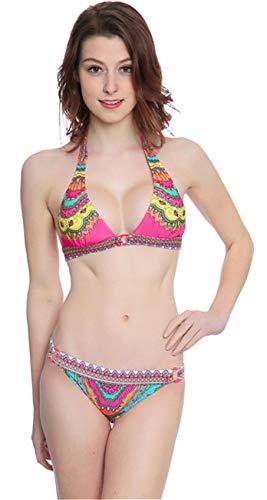 SZIVYSHI 2 Stück Neckholder Barock Ethnisch Stammes Afrikanische Aztekisch Paisley Gepolstert Bikini Oberteil Top Mit Bikinihose Swimwear Swimsuit Bademode Beachwear Rosa L