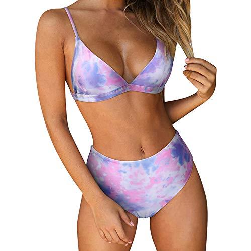 Bikini sexy push up para mujer, dos piezas, bandeau con acolchado (lila, S)