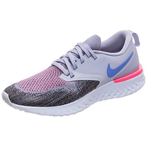 Nike Odyssey React Flyknit 2, Scarpe da Corsa Donna, Indigo Haze/Sapphire/Nero/Iron Purple, 39 EU