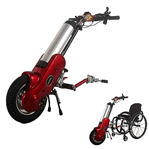 Mustbe Strong 36V 400W Elektro-Rollstuhl-Handcycle Anlage Handbike DIY Umrüstsatz Rollstuhl-Feld-Frontantriebshalterung Stecker Mit 15AH Li-Ionen-Akku,Rot,Middle Connection