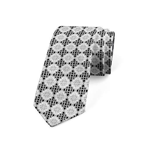 Ambesonne Men's Tie, Scandinavian Celtic, Necktie, 3.7', Grey White