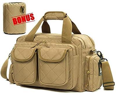 SUNLAND Gun Range Bag Tactical Shooting Range Bag with Lockable Zipper and Plenty of Room for Handguns (Tan)